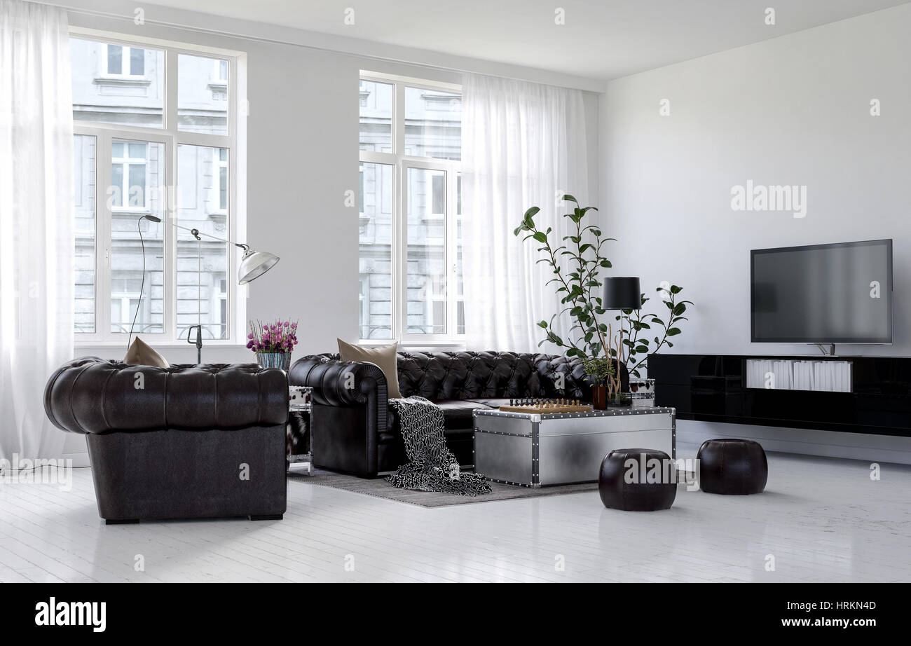 Spacious living room in city apartment building in minimalist Stock ...