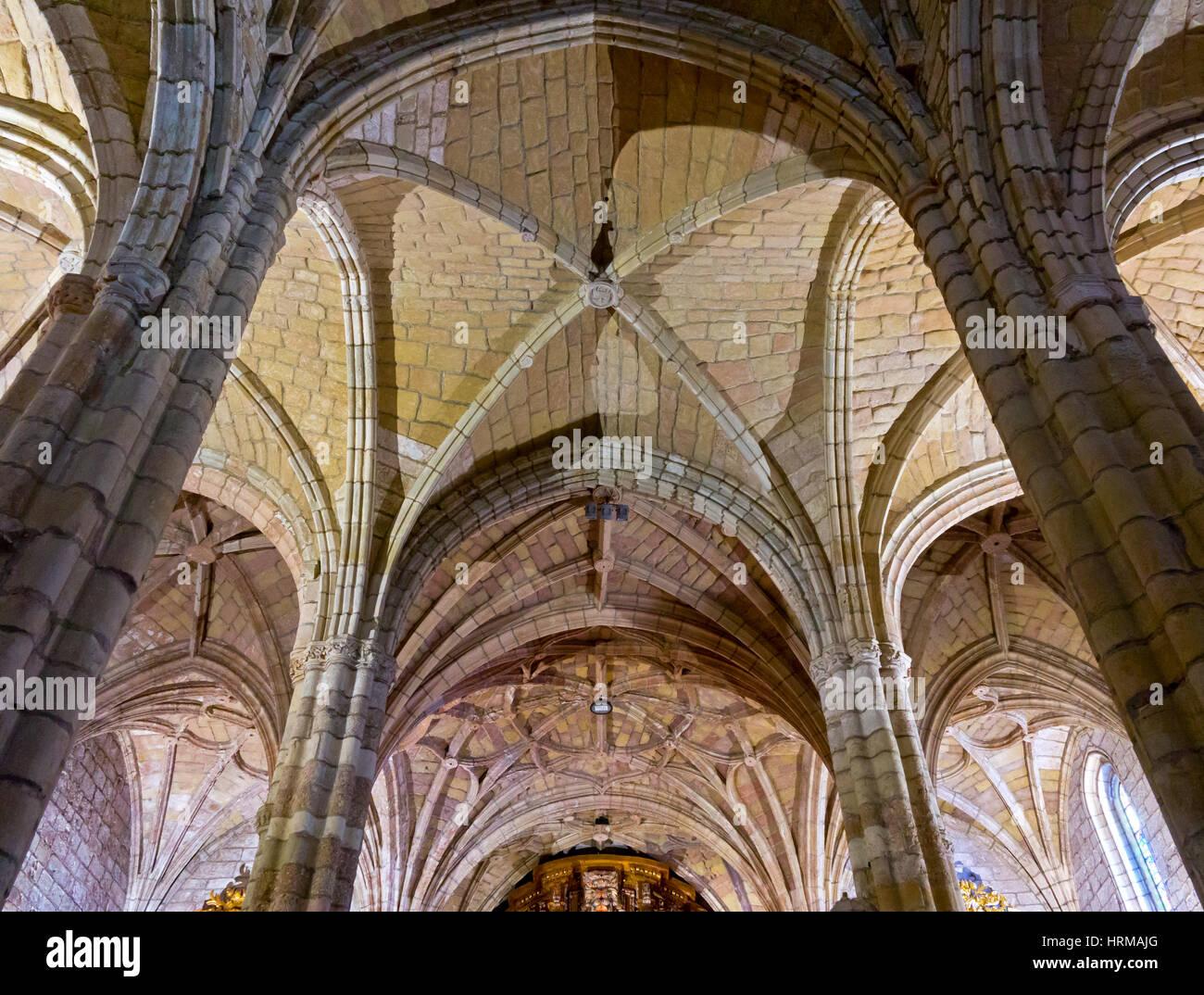 Interior and arched ceiling of Church of Santa Maria De Los Angeles in San  Vincente De La Barquera in Cantabria Northern Spain