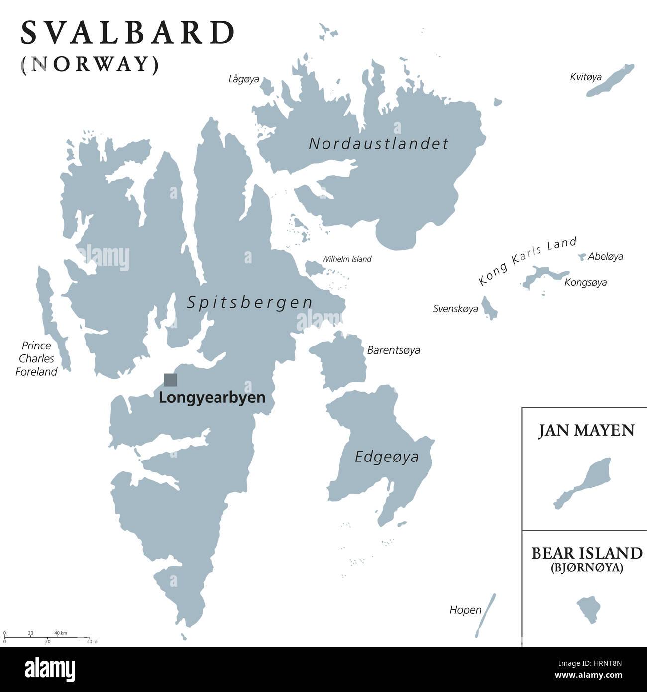 Svalbard Bear Island and Jan Mayen political map Norwegian Stock