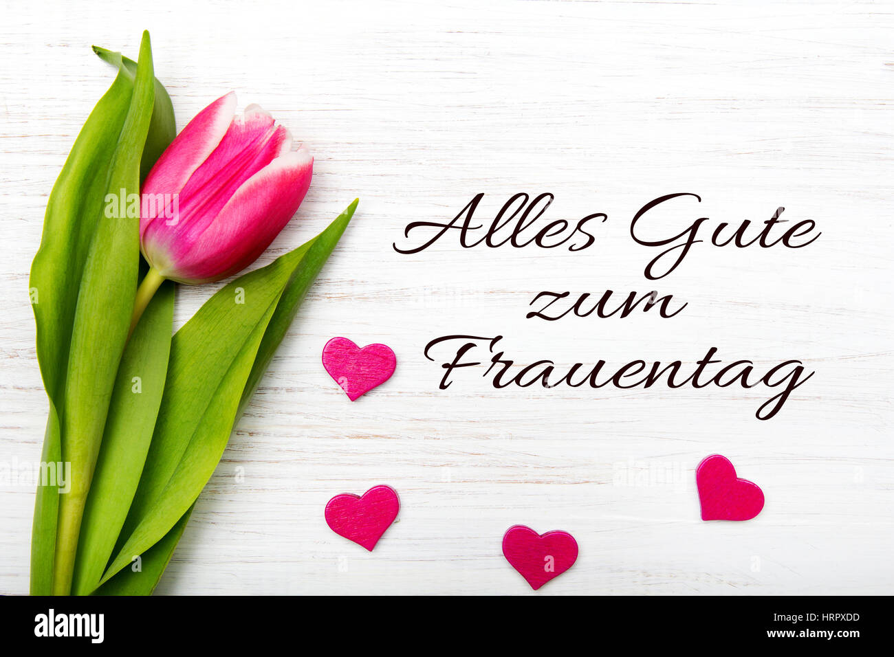 Womens day card with german words alles gute zum frauentag womens day card with german words alles gute zum frauentag all the best for womens daytulip flower and small heart on white wooden background kristyandbryce Image collections