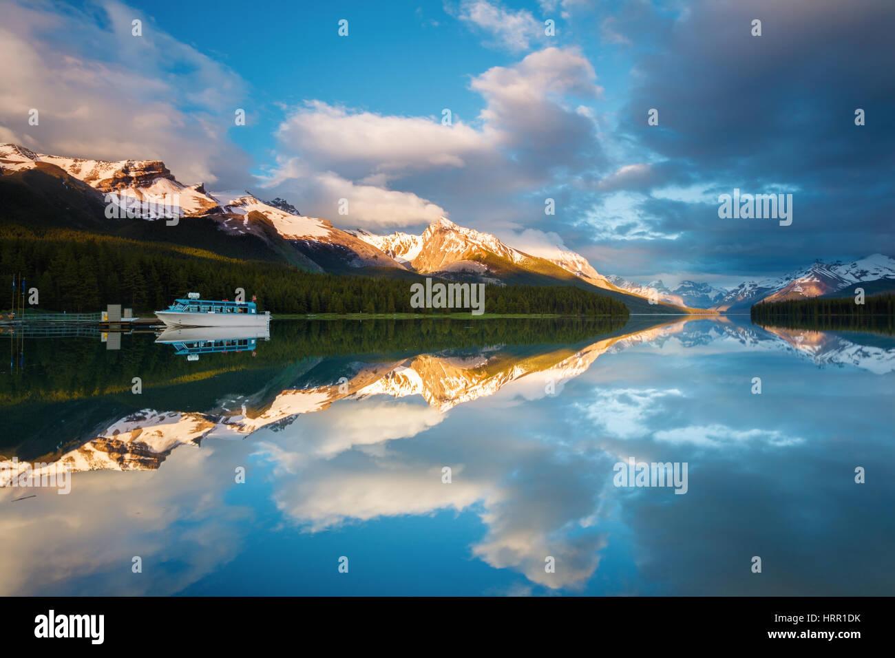 Rocky mountain sunset at maligne lake in jasper national park alberta canada