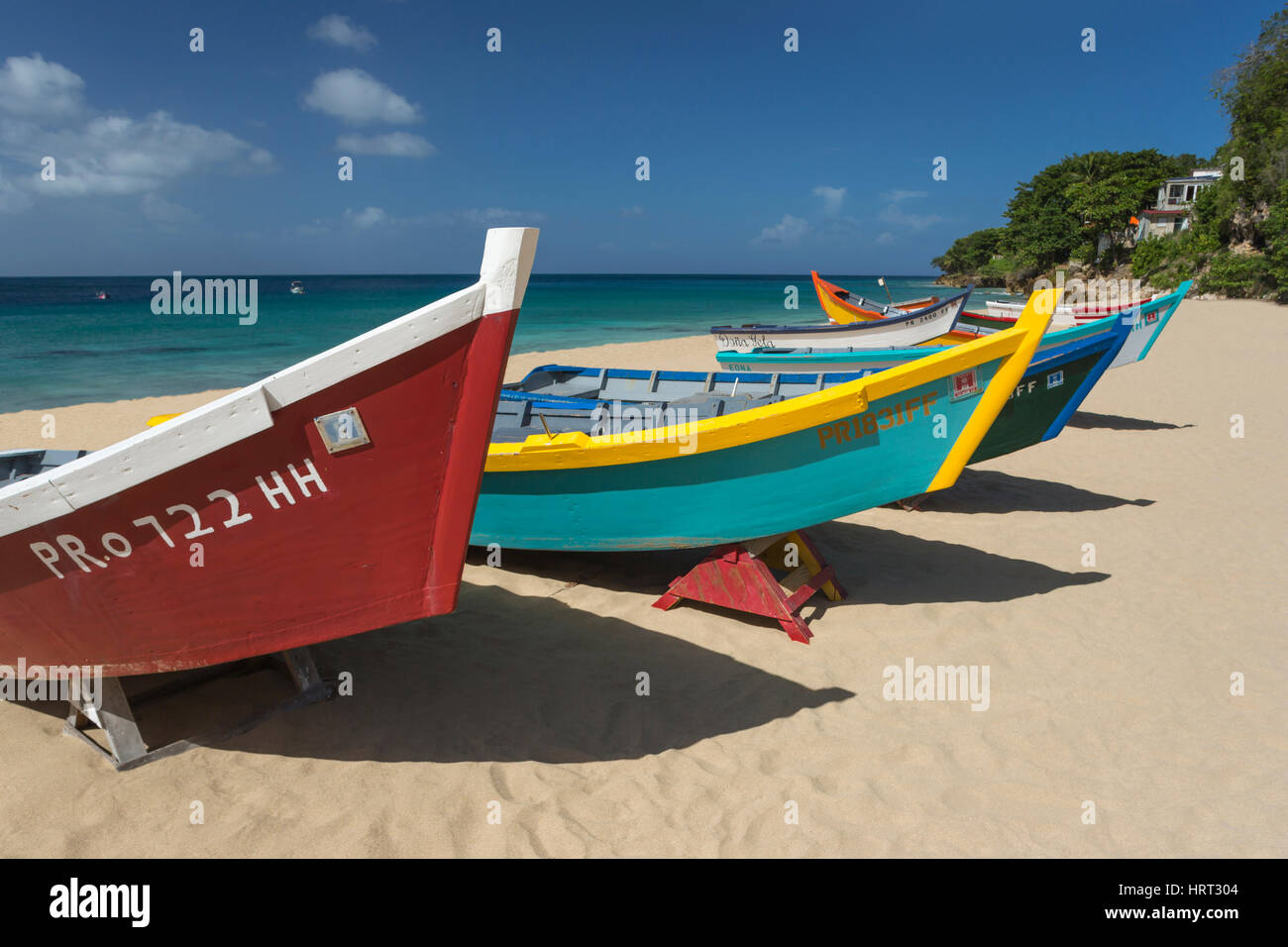 Row of brightly painted yola fishing boats crash boat for Fishing row boats
