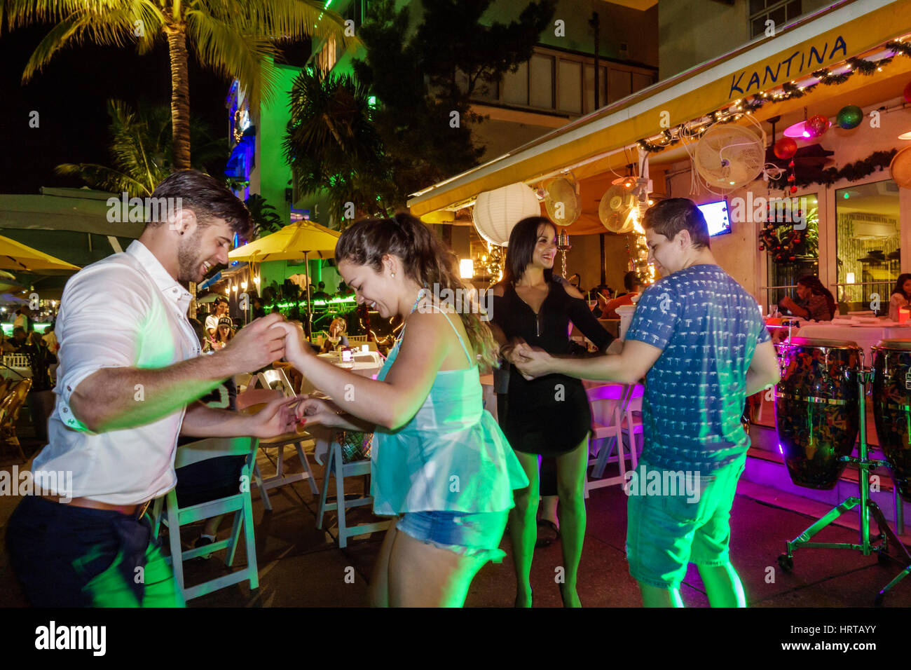 Miami Beach Florida Ocean Drive Kantina Restaurant Salsa Dancing Hispanic Man Woman Couple Night Nightlife
