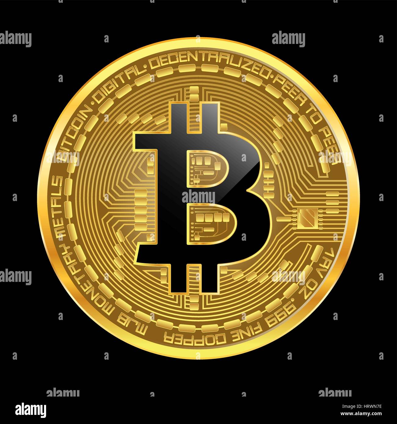 Crypto currency golden coin with black lackered bitcoin ...