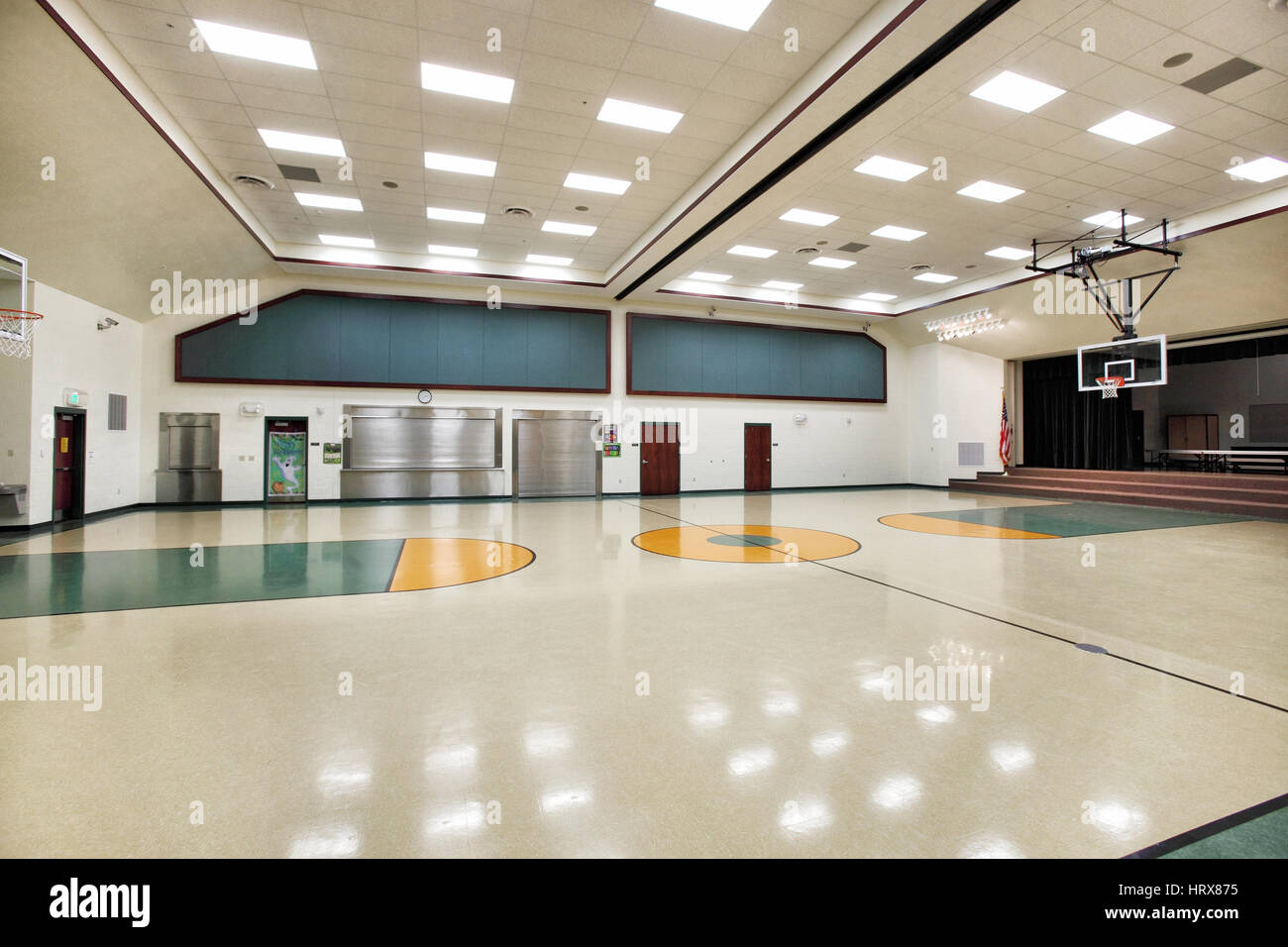 The multipurpose room in a modern elementary school which