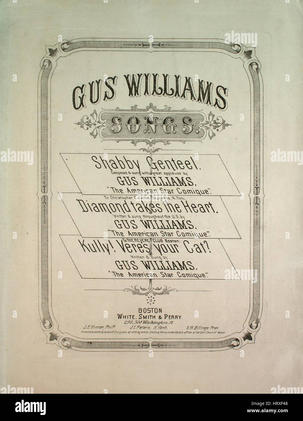 Sheet music cover image of the song Gus Williams Songs Shabby