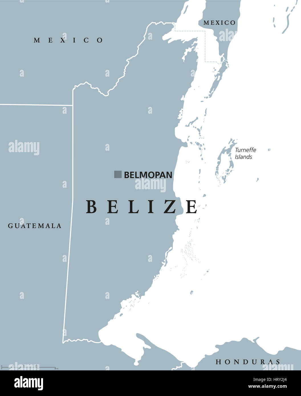 Belize Political Map With Capital Belmopan And National Borders - belmopan map
