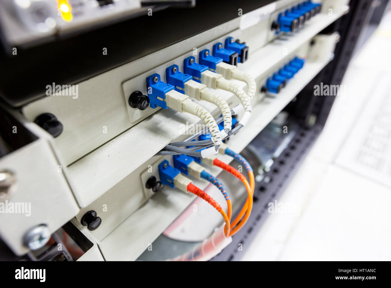 Fiber Optic Cable Connect To Ethernet Switch Mount On Rack
