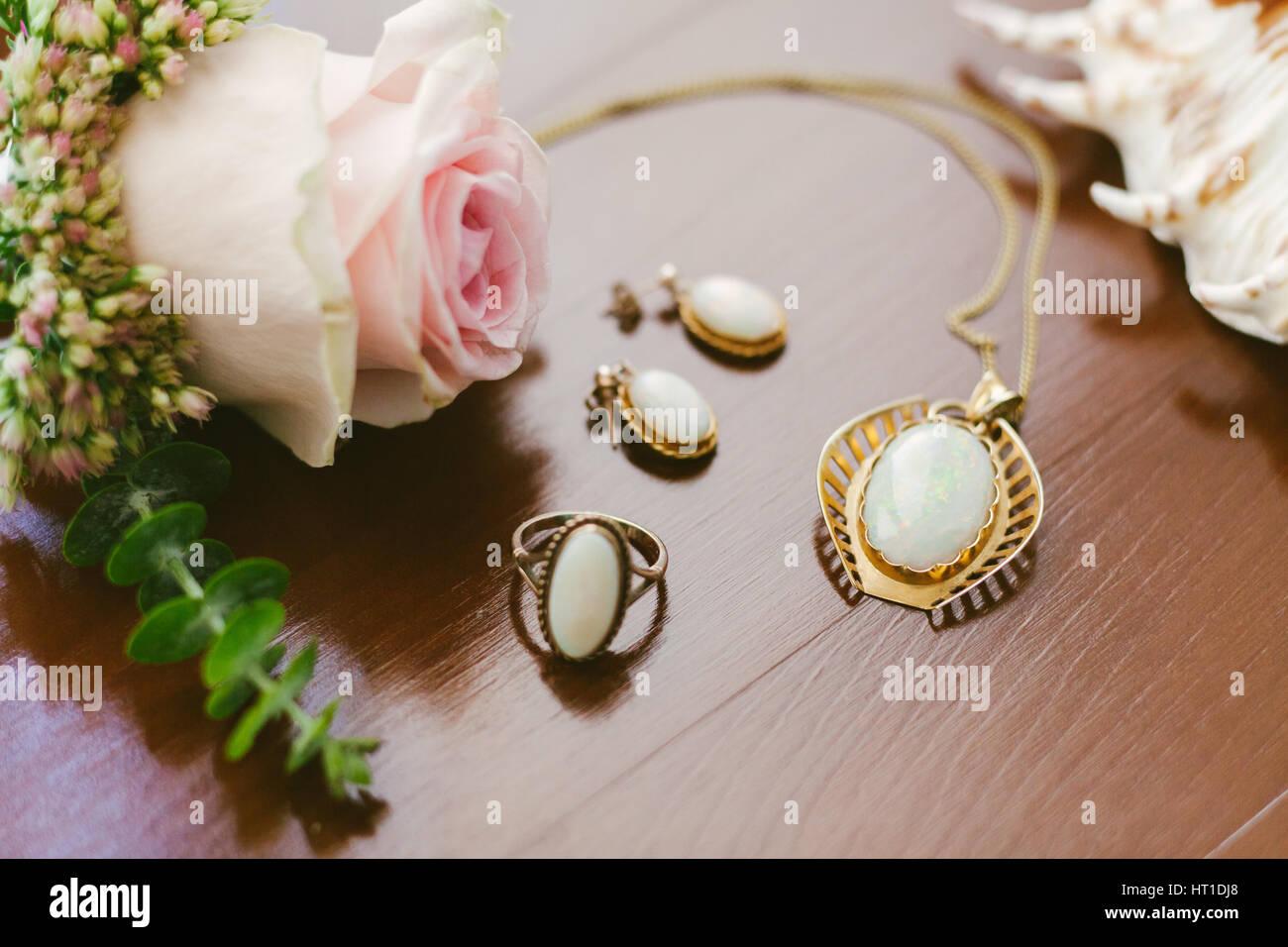 vintage wedding jewelry Brides accessories Stock Photo 135256976