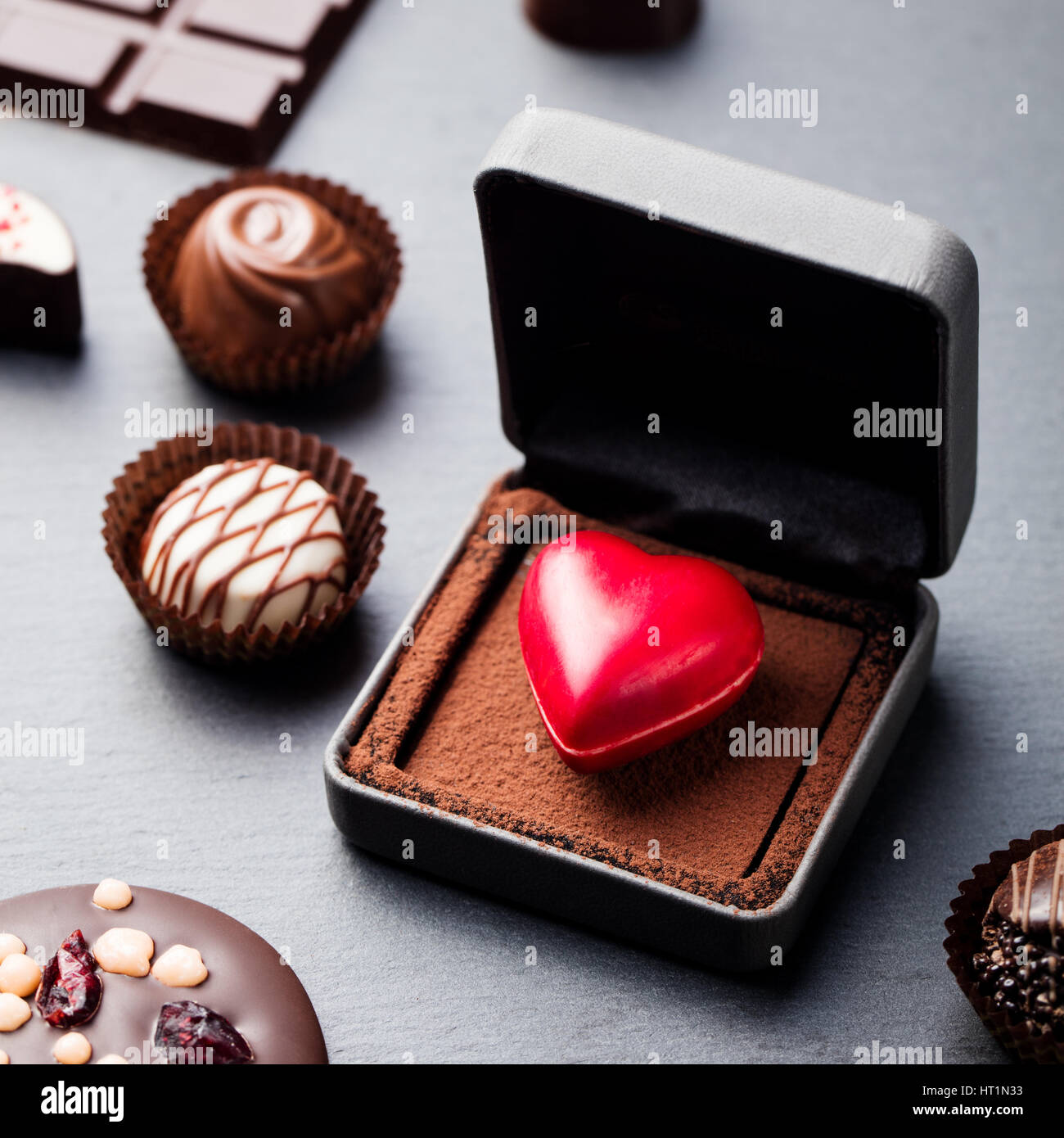 Chocolate Heart Shaped Gift Boxes : Heart shaped chocolate candy in a gift box stock photo