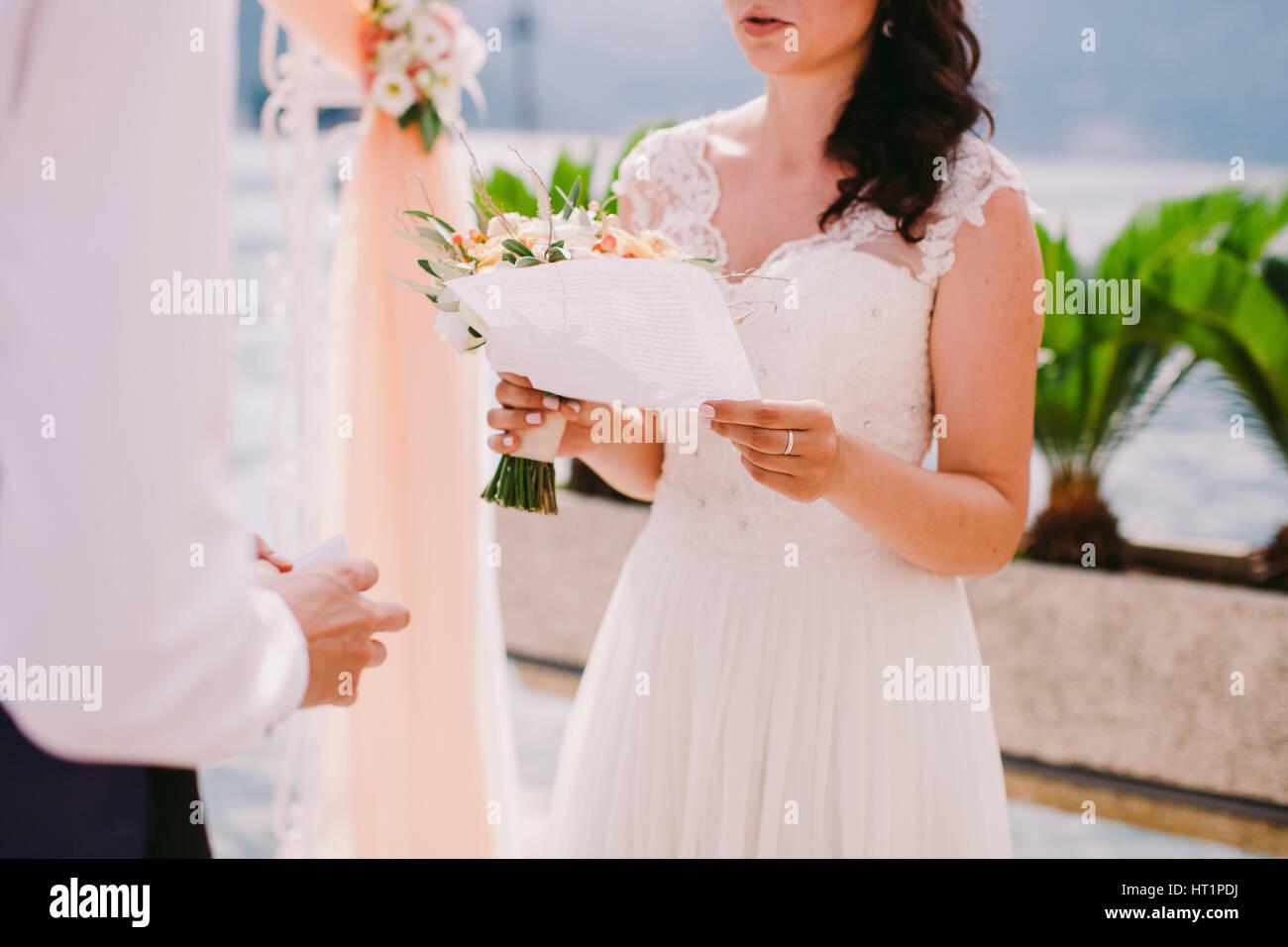 Bride Reading Wedding Vows Ceremony