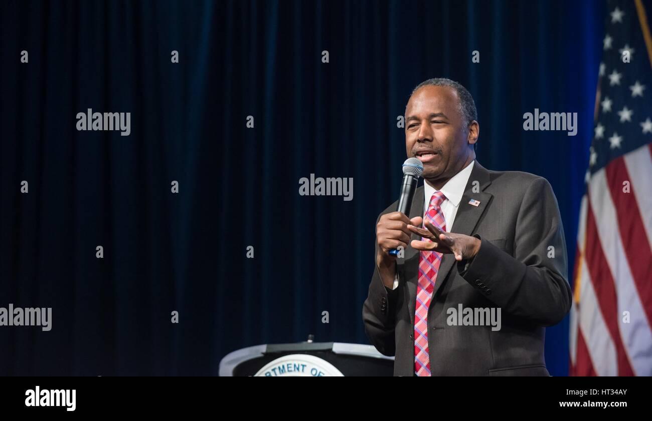 u.s. secretary of housing and urban development ben carson holds