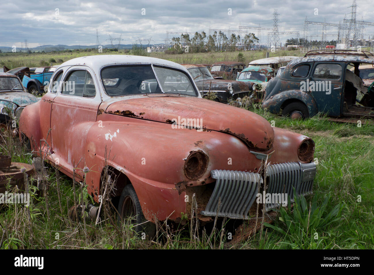 Old classic cars scrapyard in Rocha, Uruguay Stock Photo: 135344909 ...