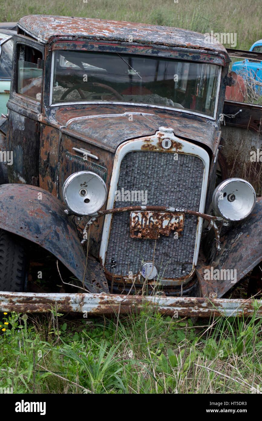 Old classic cars scrapyard in Rocha, Uruguay Stock Photo: 135344919 ...