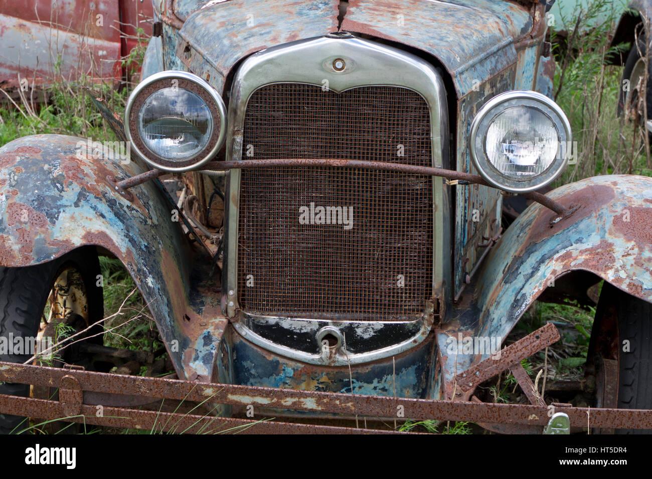 Old classic cars scrapyard in Rocha, Uruguay Stock Photo: 135344920 ...