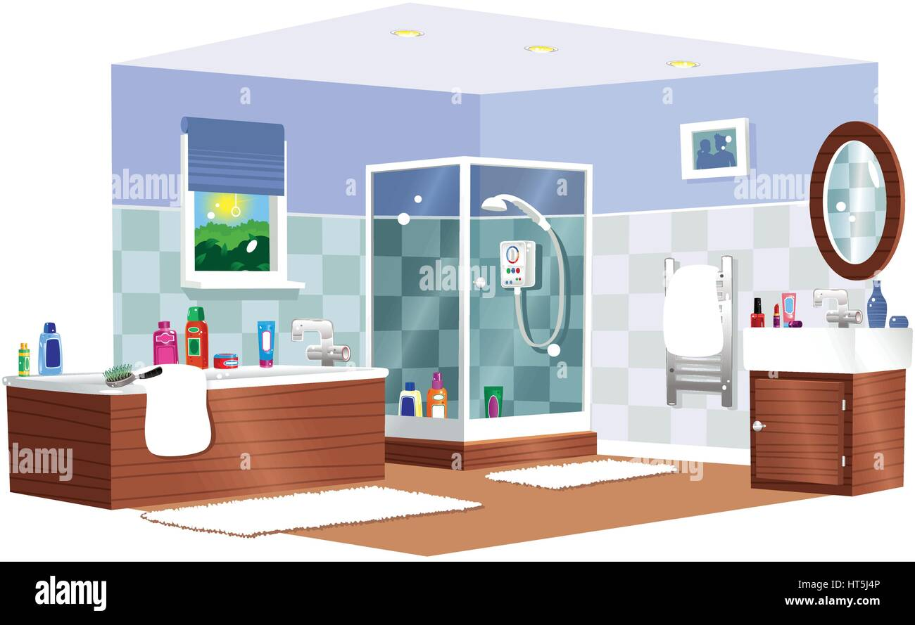 A Cutaway Of A Modern Residential Bathroom, With Both Bath And Shower Unit