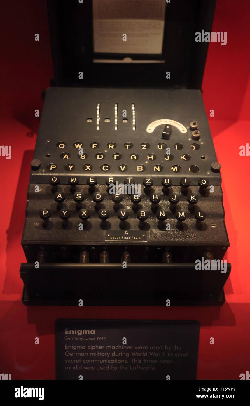 WWII German Military Enigma Machine Display In International Spy - German museums in usa