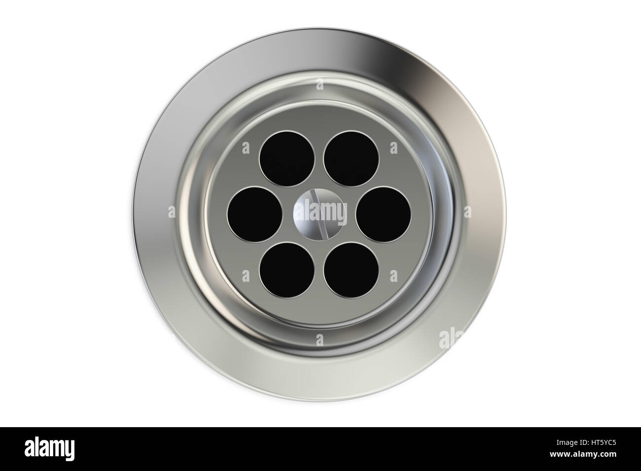 Top view of kitchen sink drain, round plug hole. 3D rendering ...