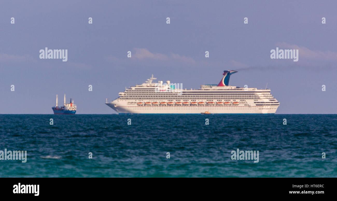 MIAMI BEACH FLORIDA USA Carnival Valor Cruise Ship And Stock - Valor cruise ship