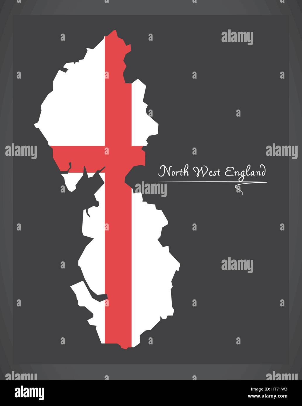 North West England map with flag of England illustration Stock ...