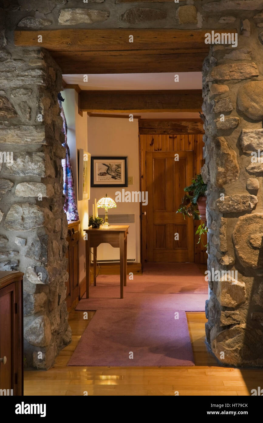 Fieldstone Door Frame Leading To Dining Room In Old 1750 House Interior