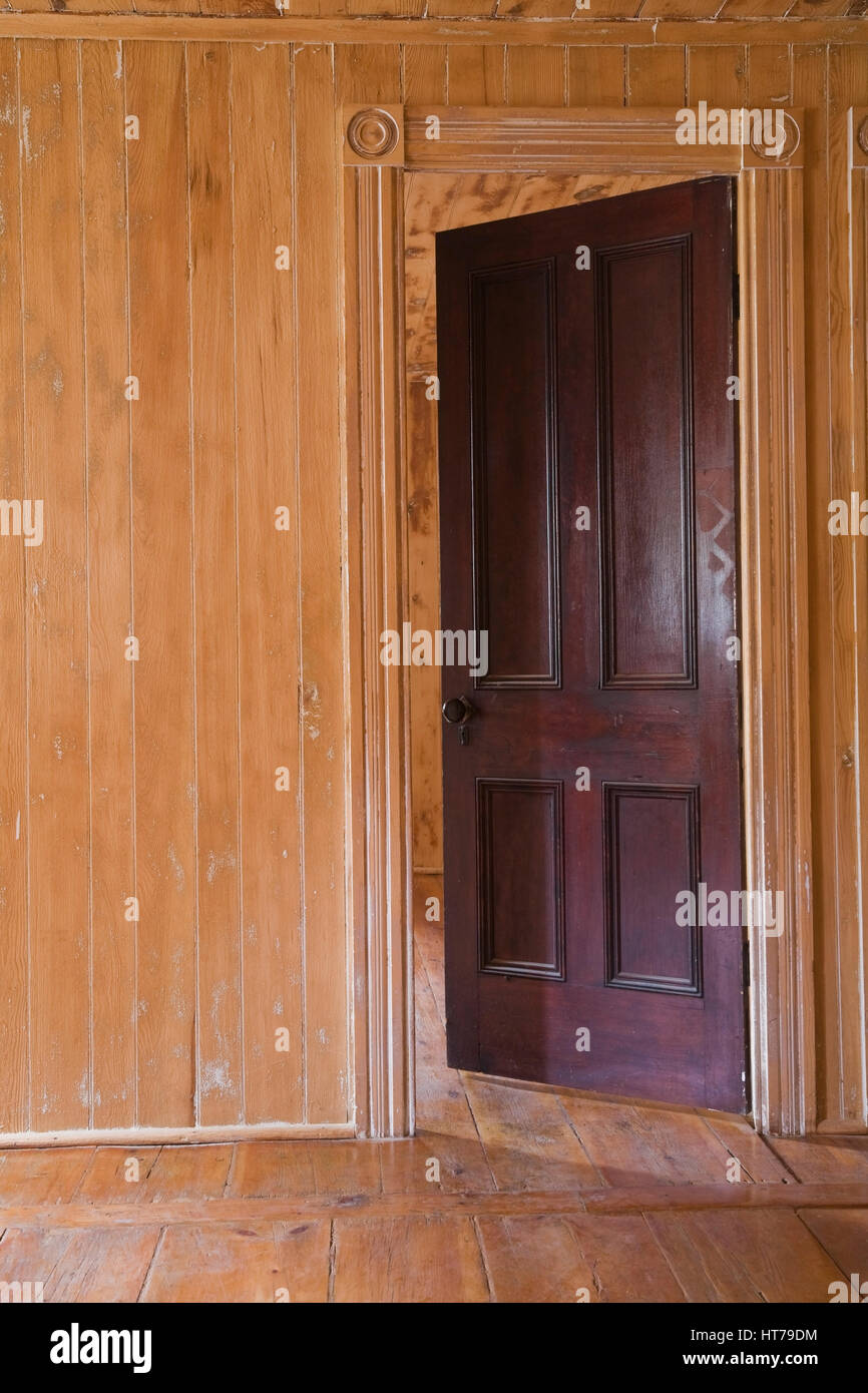Interior bedroom door - Partially Opened Bedroom Door In 1826 Canadiana Old House Interior Stock Image