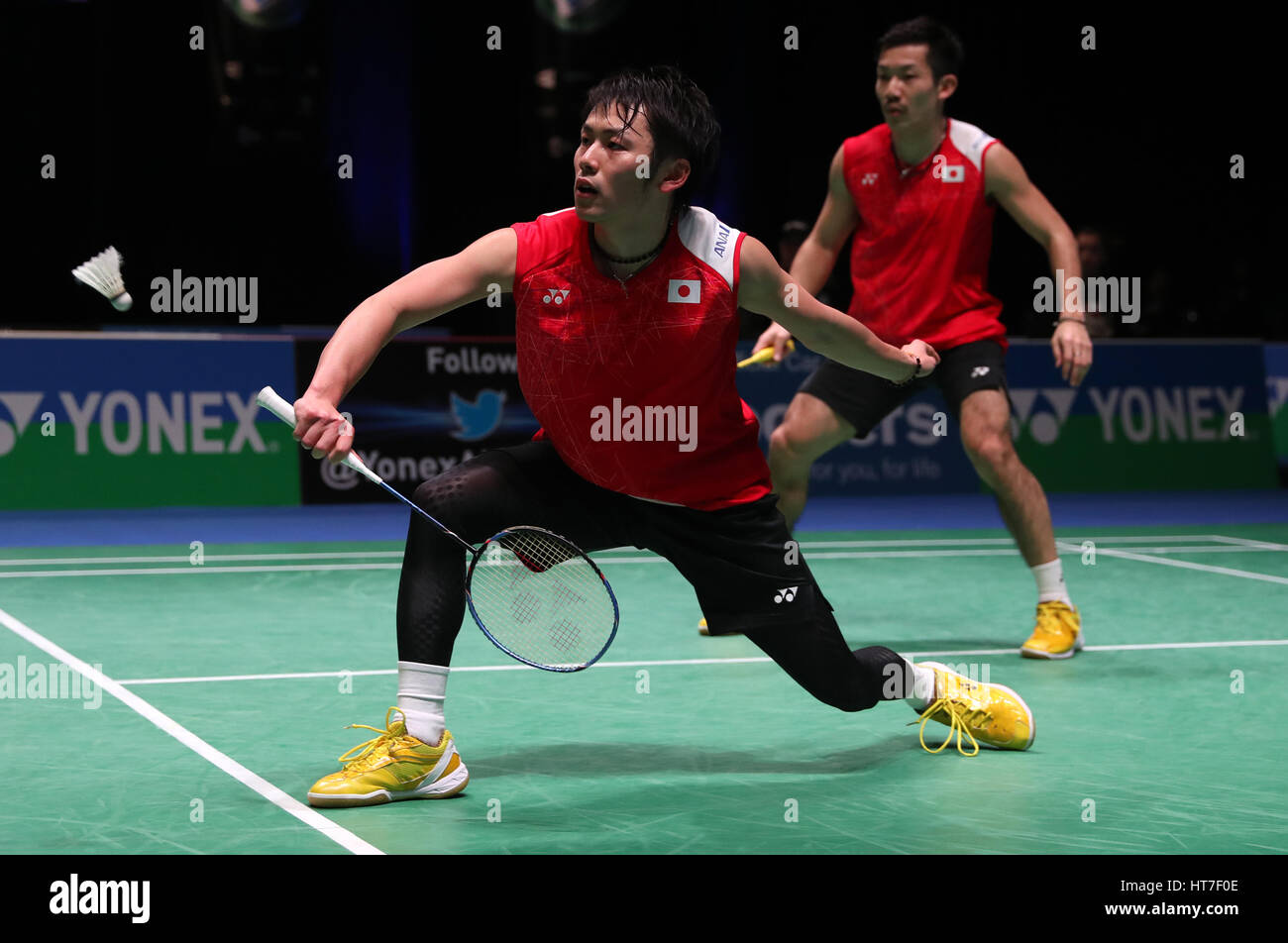 Japan s Takeshi Kamura left and Keigo Sonoda in action during