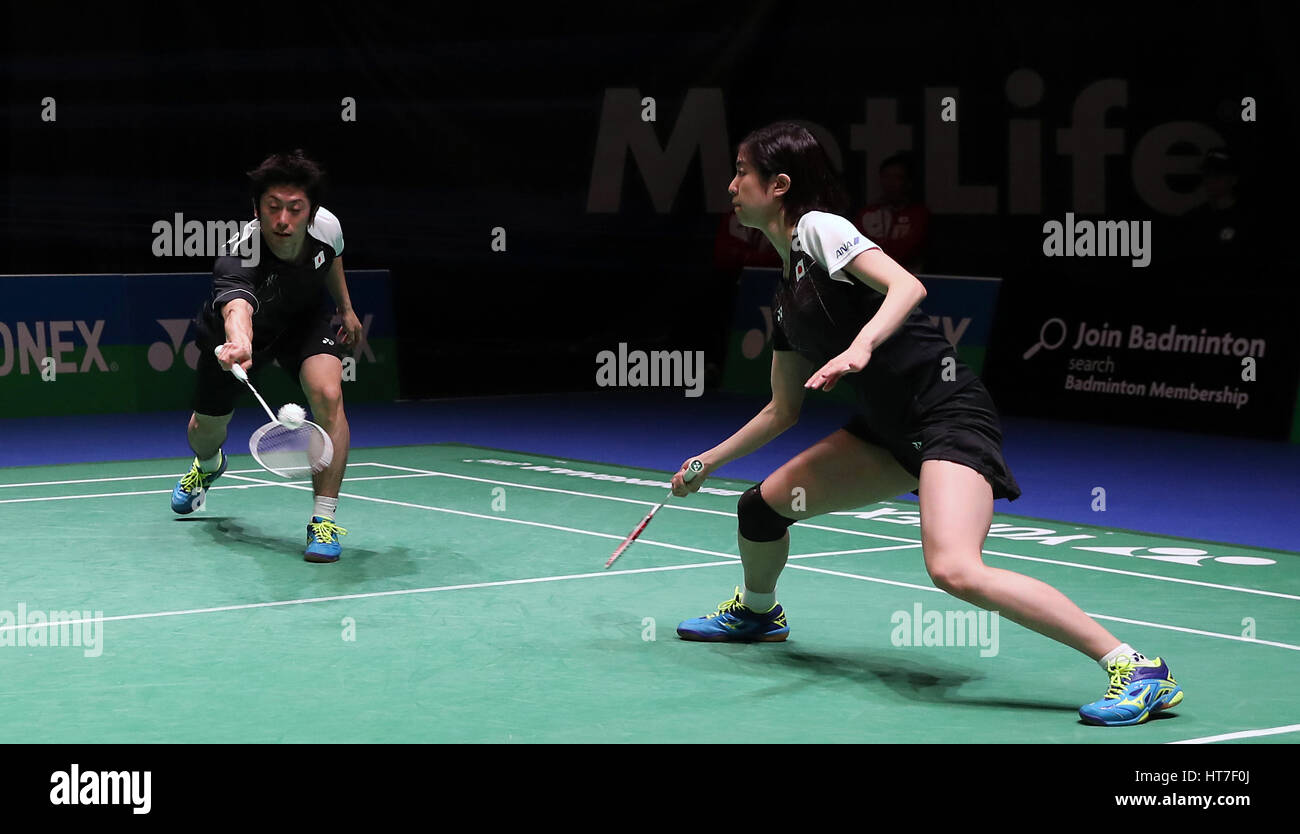 Japan s Kenta Kazuno left and Ayane Kurikara in action during