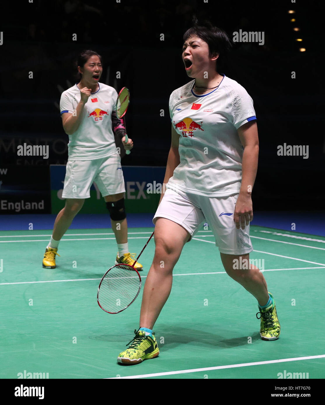 China s Chen Qingchen right and Jia Yifan react during the