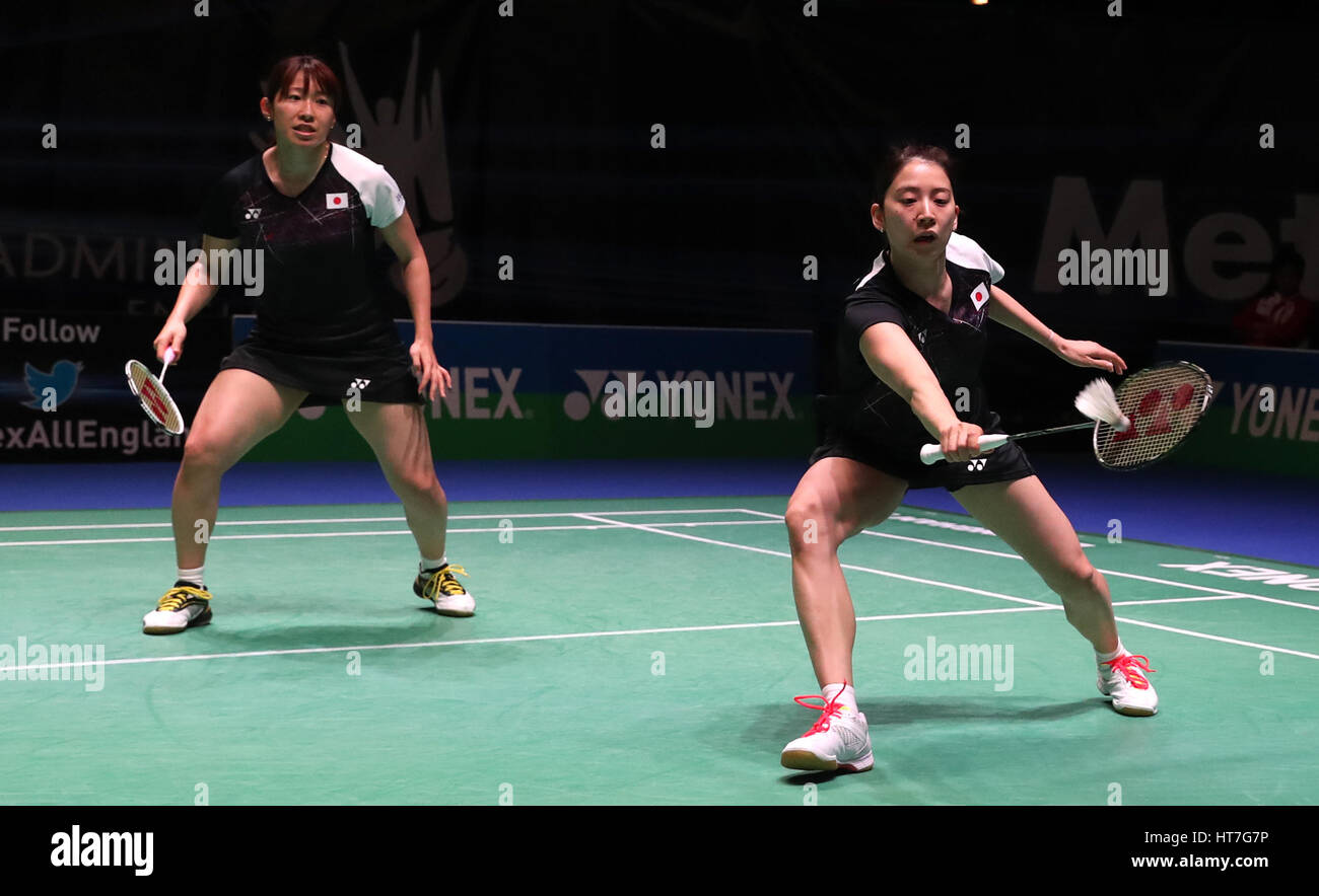 Japan s Shiaho Tanaka left and Koharu Yonemoto in action during