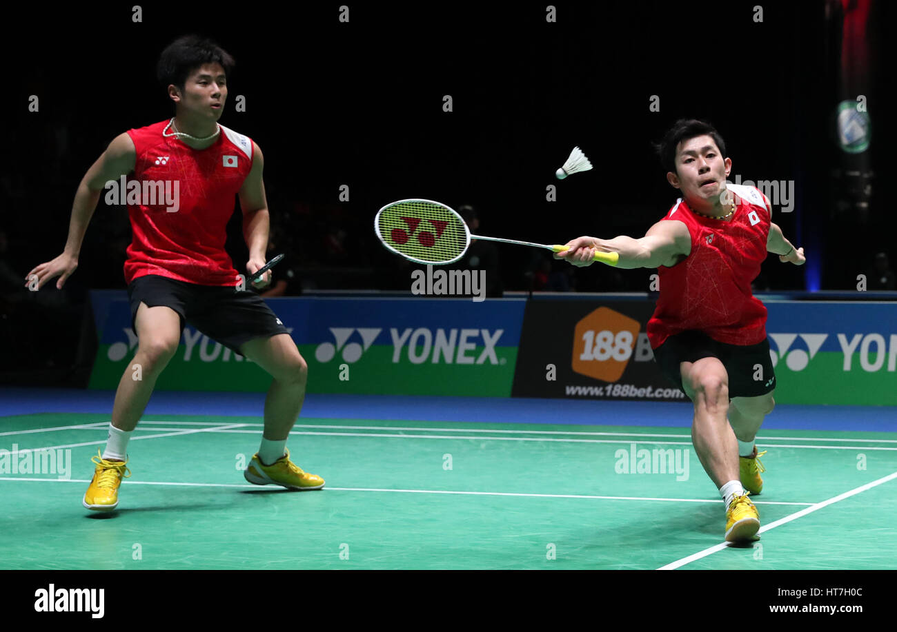 Japan s Takuro Hoki right and Yugo Kobayashi in action during