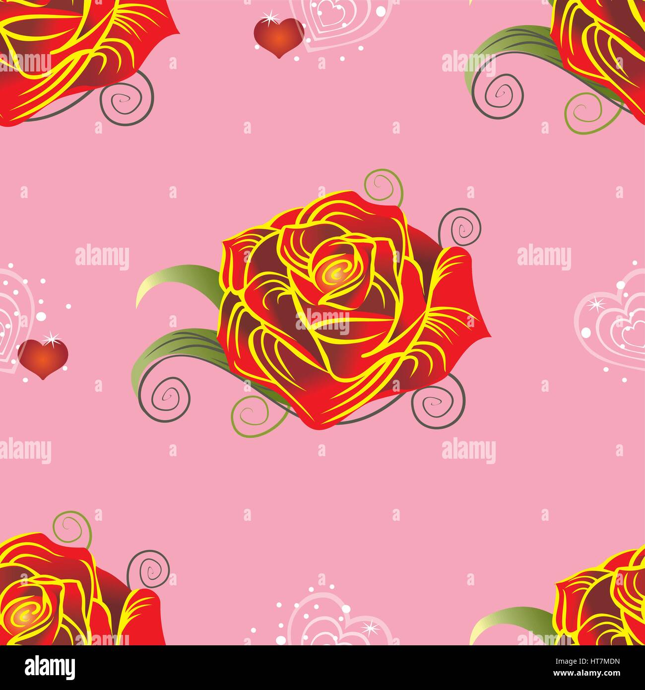 Background image mdn - Seamless Vector Pattern With Red Rose And Hearts On Pink Background