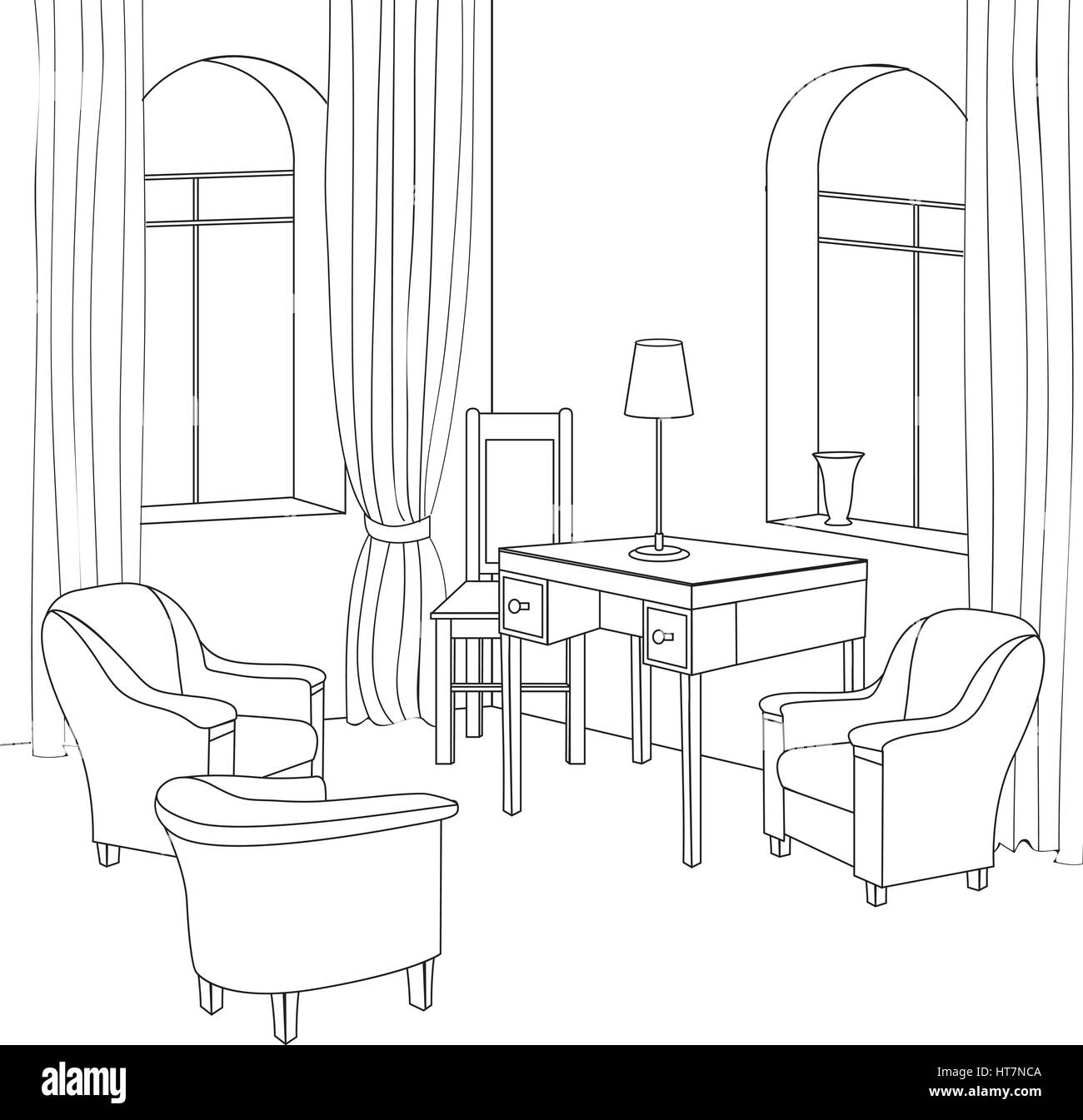Living room drawing design - Home Interior Furniture With Sofa Armchair Table Living Room Drawing Design Engraves Hand Drawing Vector Illustration