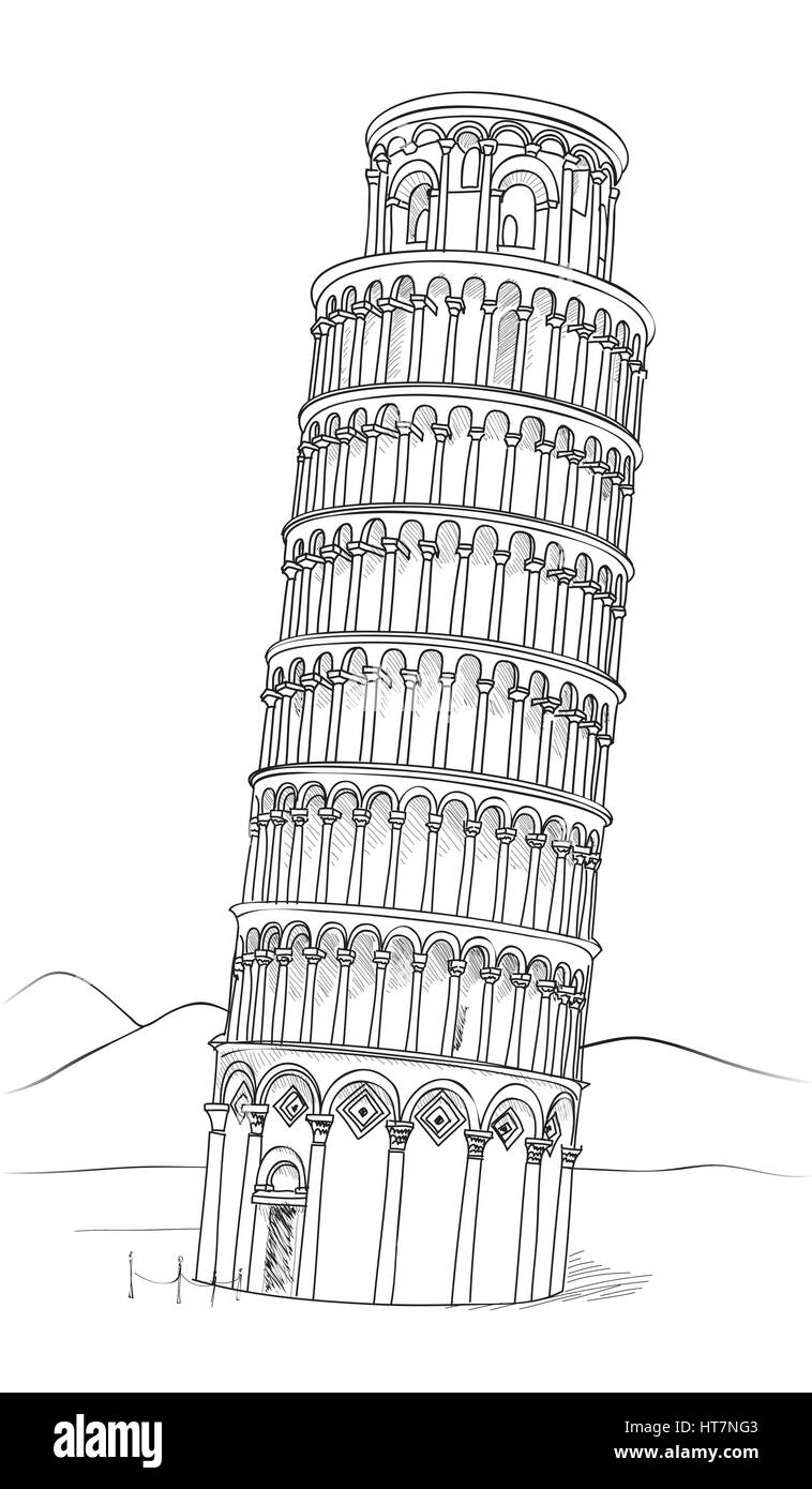 Tower Of Pisa Hand Drawn Vector Illustration Leaning Tower Of Pisa Stock Vector Art Leaning Tower Of Pisa Coloring Page