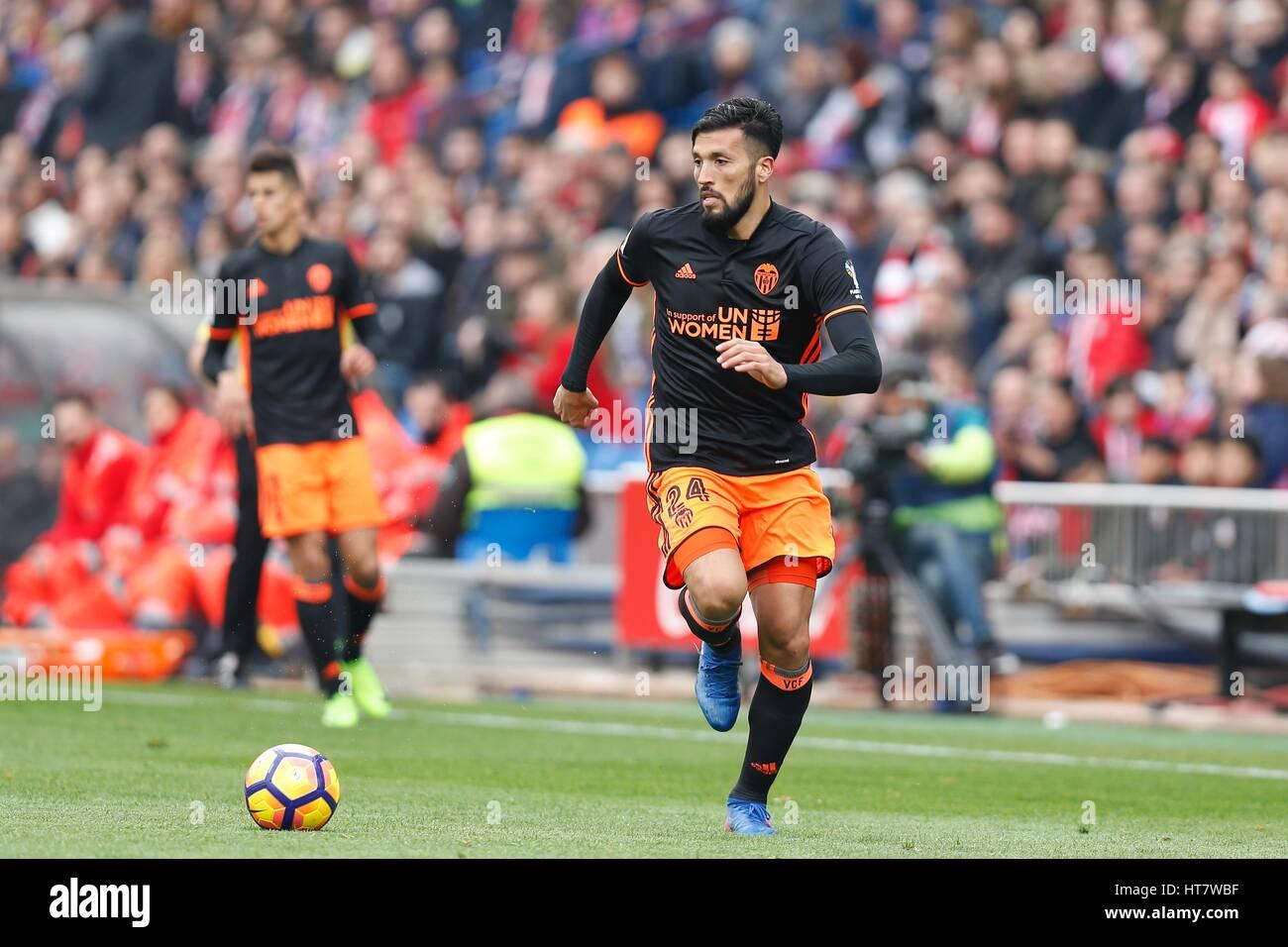 Madrid Spain 5th Mar 2017 Ezequiel Garay Valencia Stock