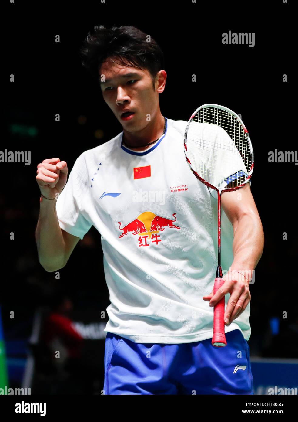 Birmingham 8th Mar 2017 China s Tian Houwei reacts during the