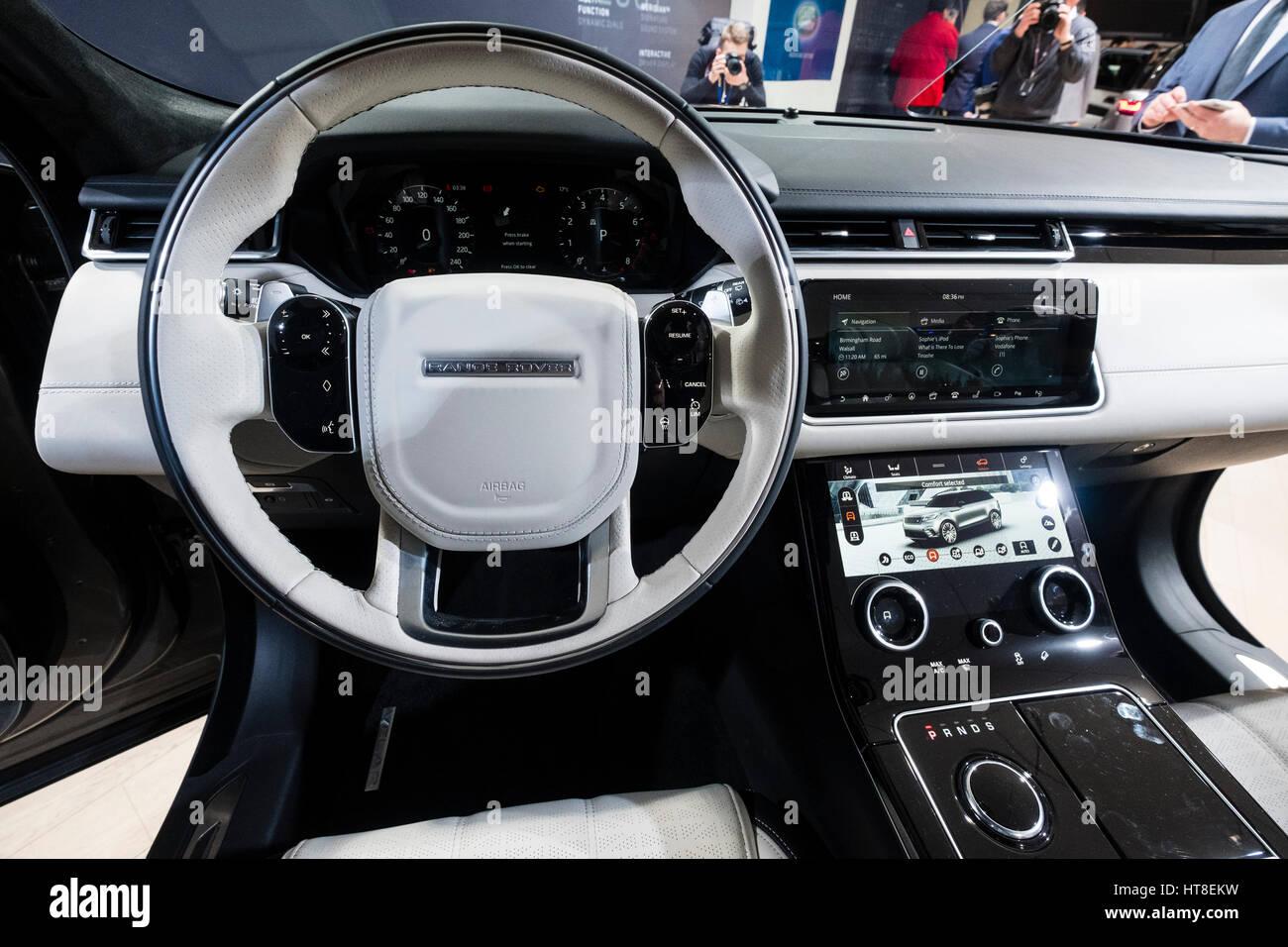 Detail of interior of new land rover velar luxury suv on for Interior range rover velar
