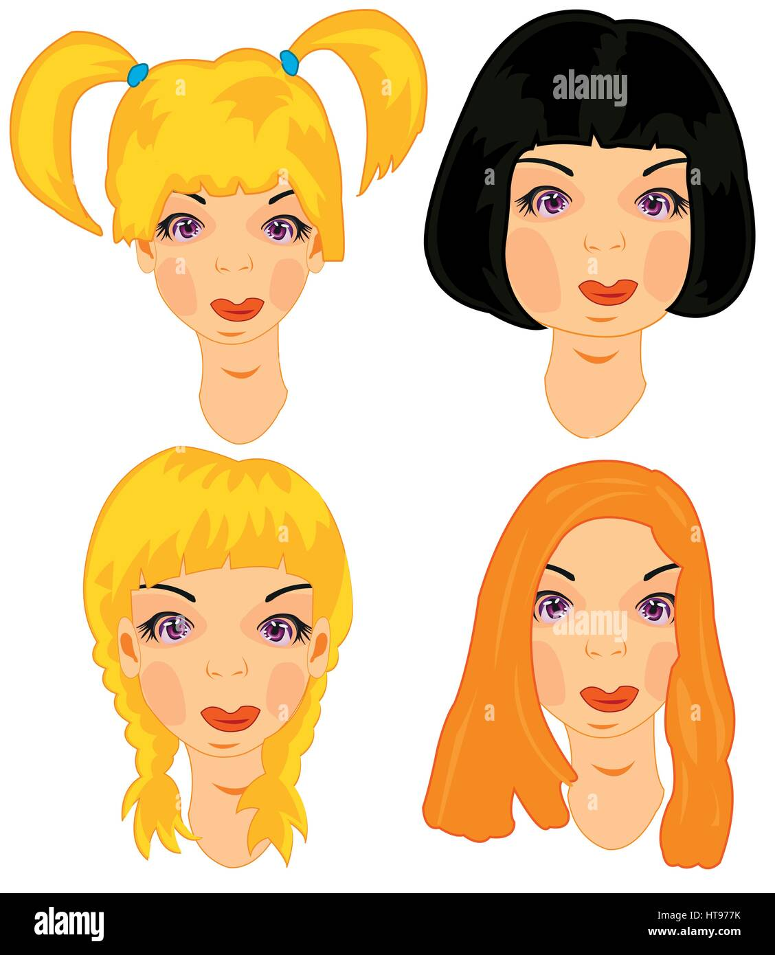 Hairstyles of the young attractive womans on white background ...