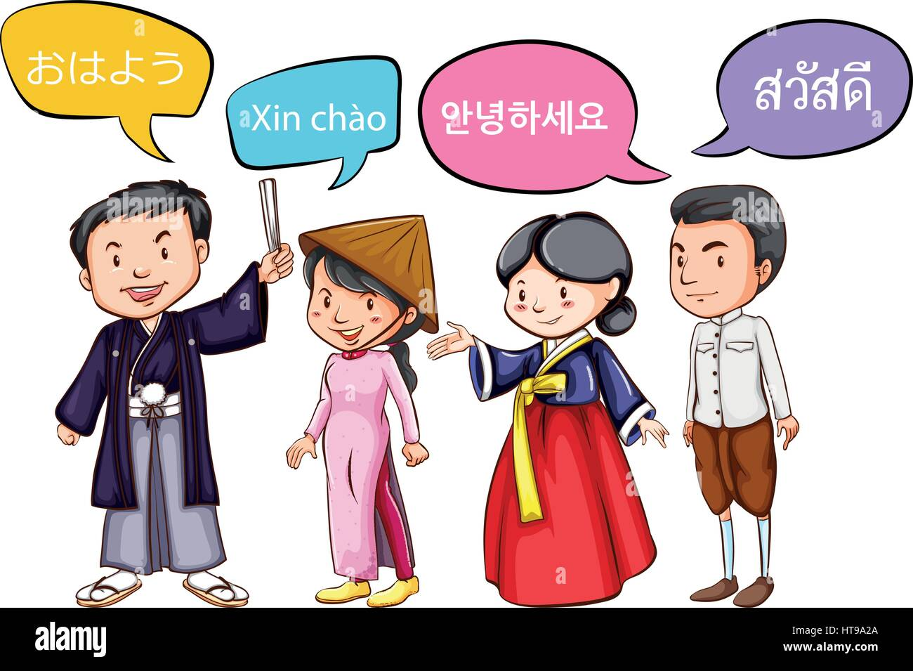 Four people greeting in different languages illustration stock four people greeting in different languages illustration kristyandbryce Image collections