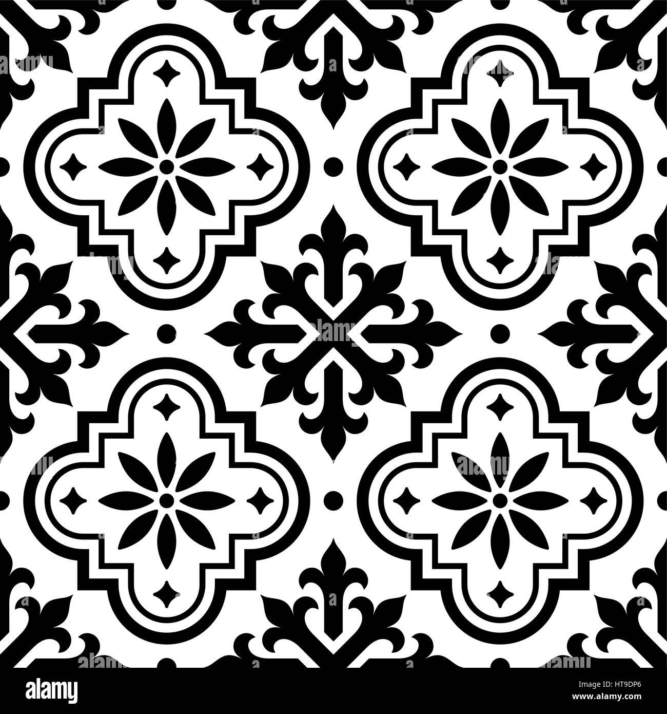 Spanish tile pattern, Moroccan tiles design, seamless black and ...