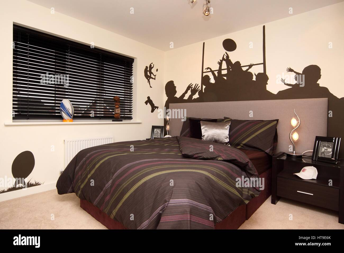 Home Interior. Boys Bedroom, Rugby Theme, Rugby Mural, Feature Wall,