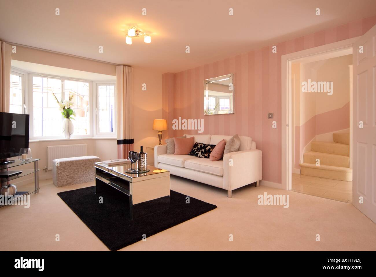 Home Interior. Modern Lounge, New Build, Living Room, Pink Cream Decor,  Hallway, Stairs, Mirrored Coffee Table, Part 43
