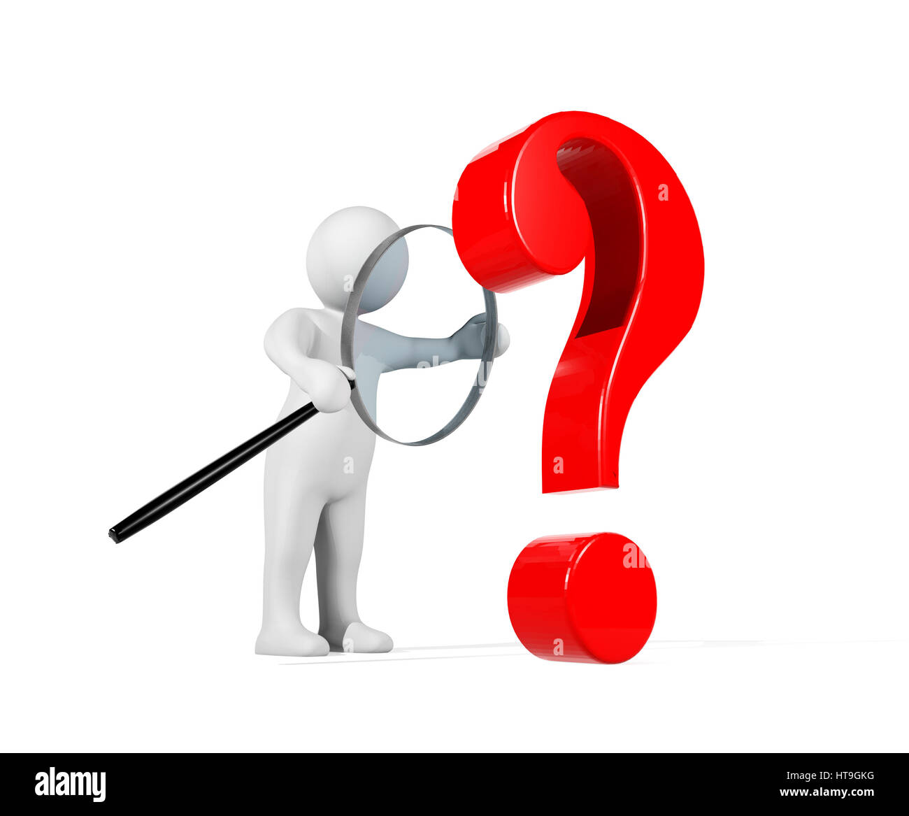 3d person with magnifying glass and question mark stock images image - 3d Man Using Magnifying Glass Detecting Red Question Mark Conceptual Image Presenting Problem Detected