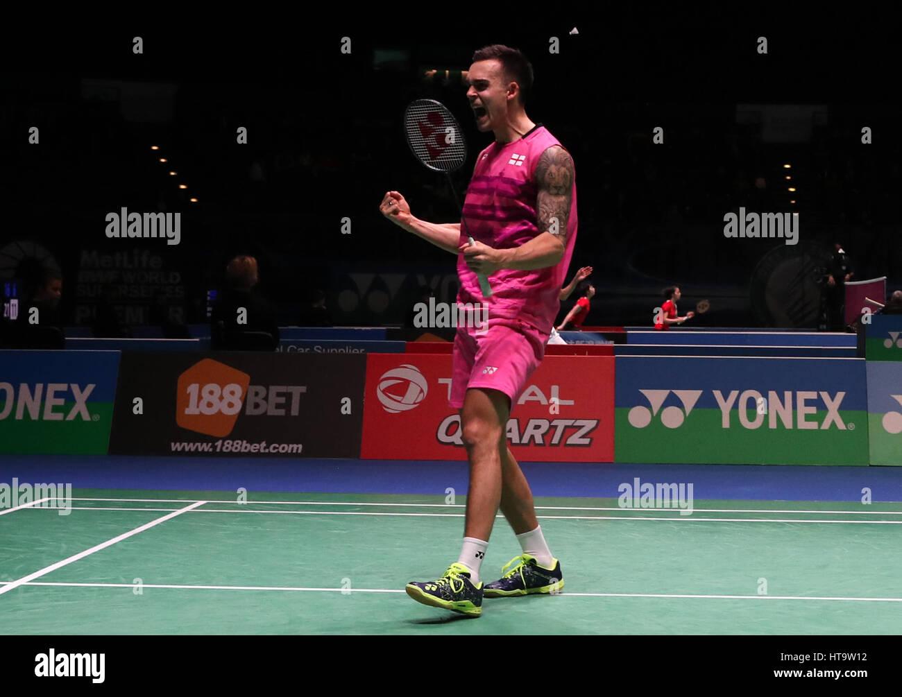 England s Chris Adcock celebrates winnig his Mixed doubles match