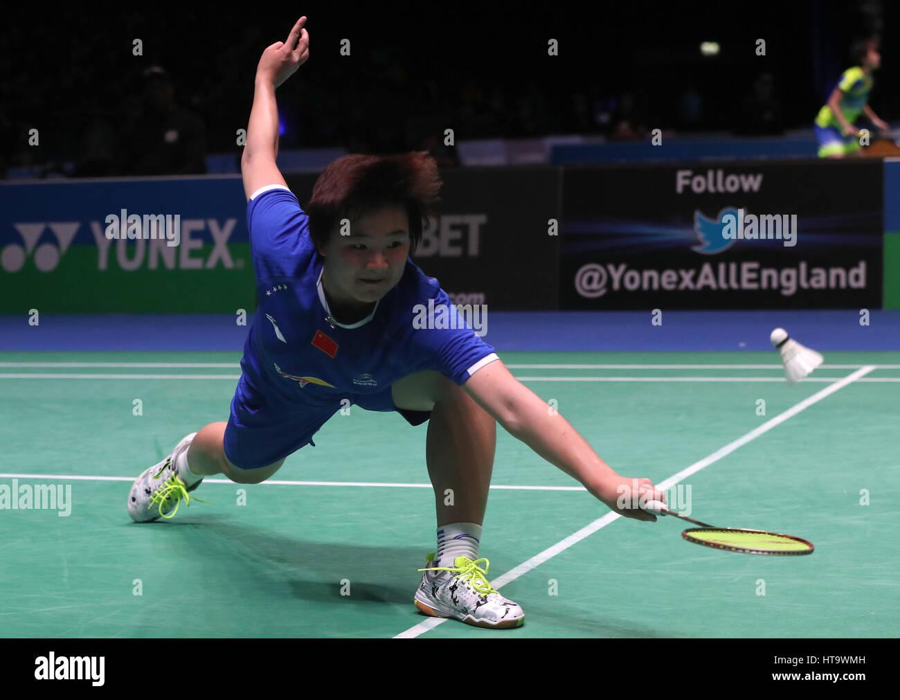 China s He Bingjiao in action during her Women s singles match