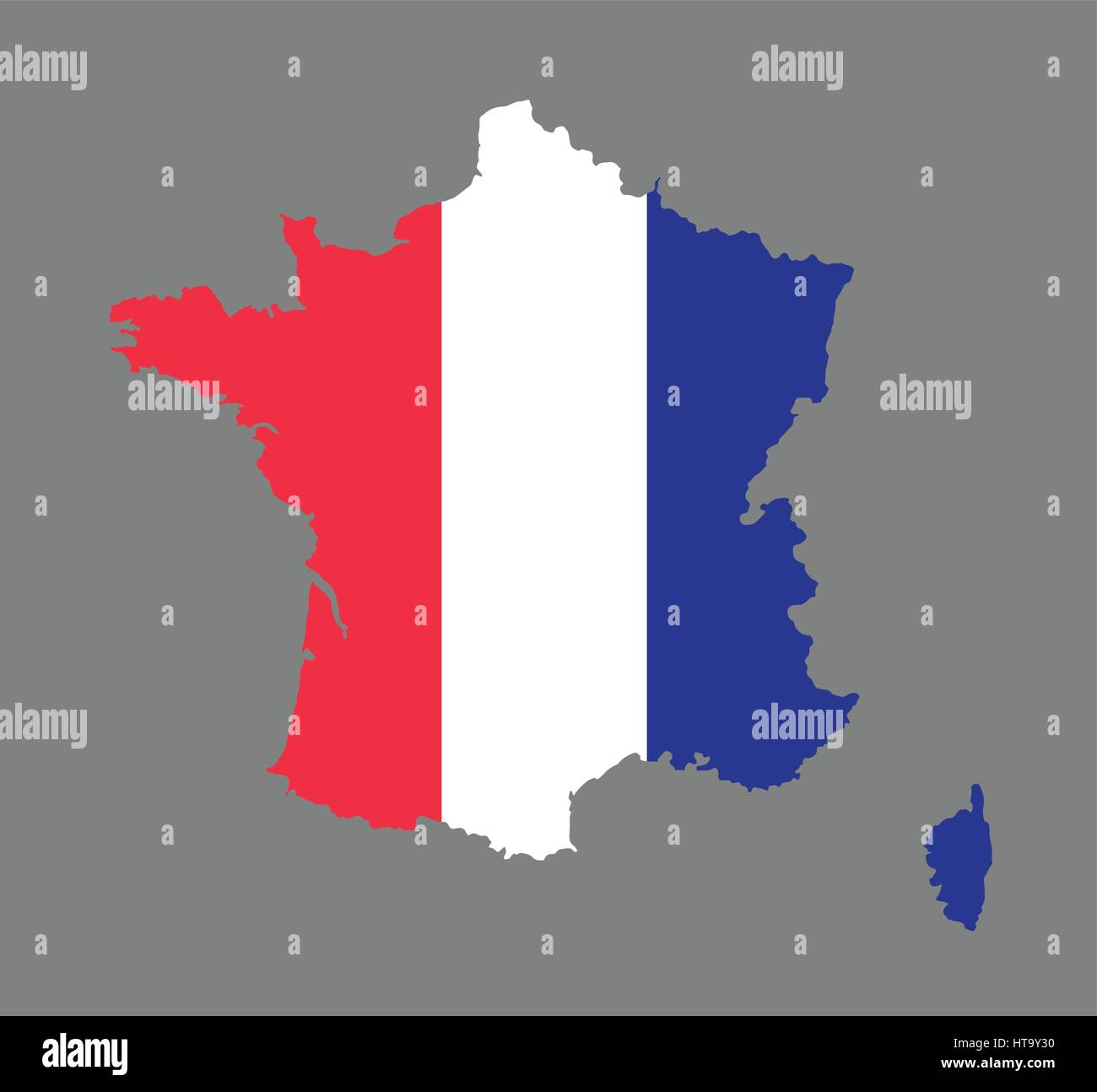 france map vector with the french flag stock vector art