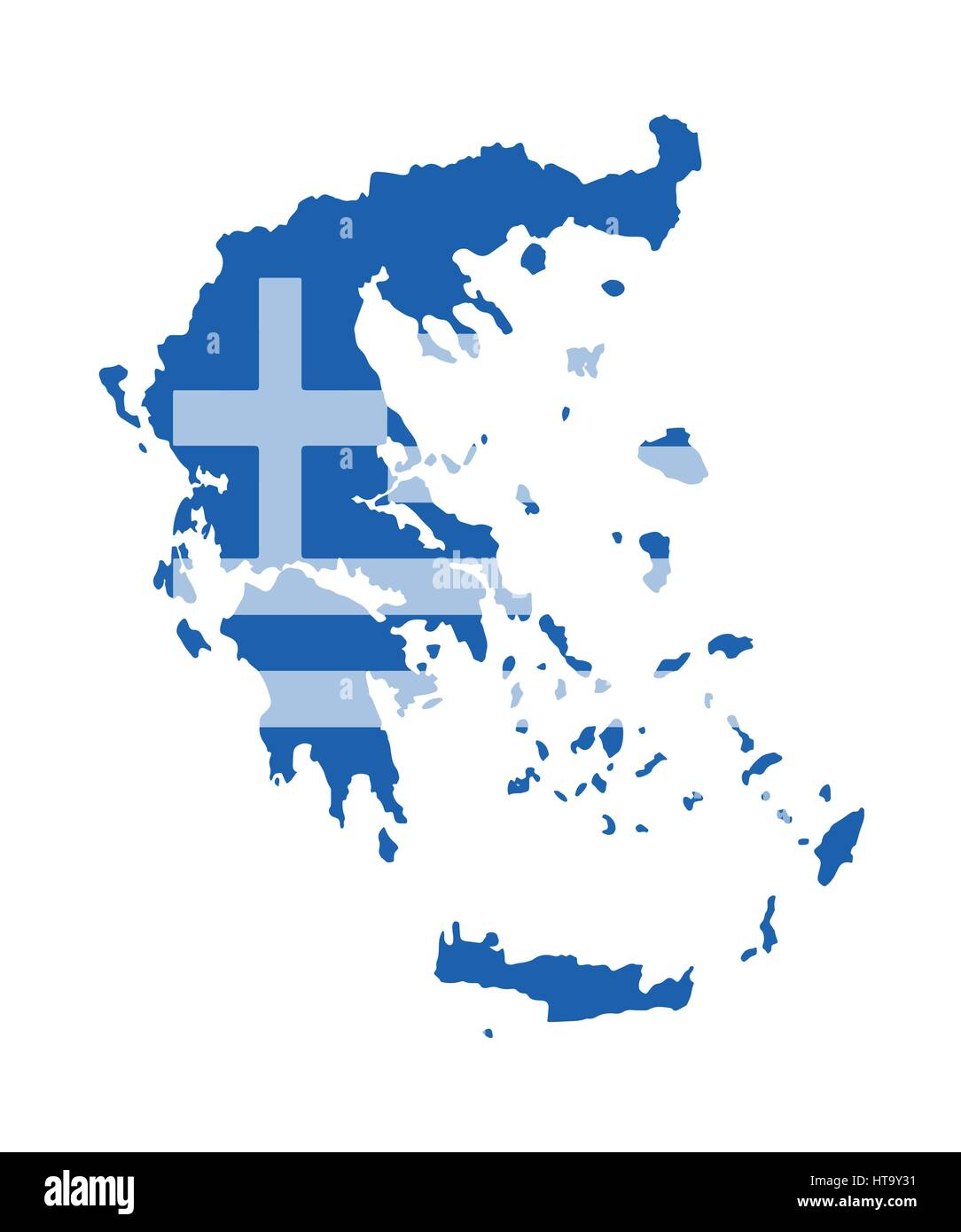 Greece Map Vector With The Greek Flag Stock Vector Art - Greece map