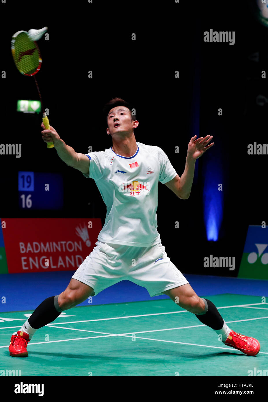 Birmingham 8th Mar 2017 Chen Long of China returns the