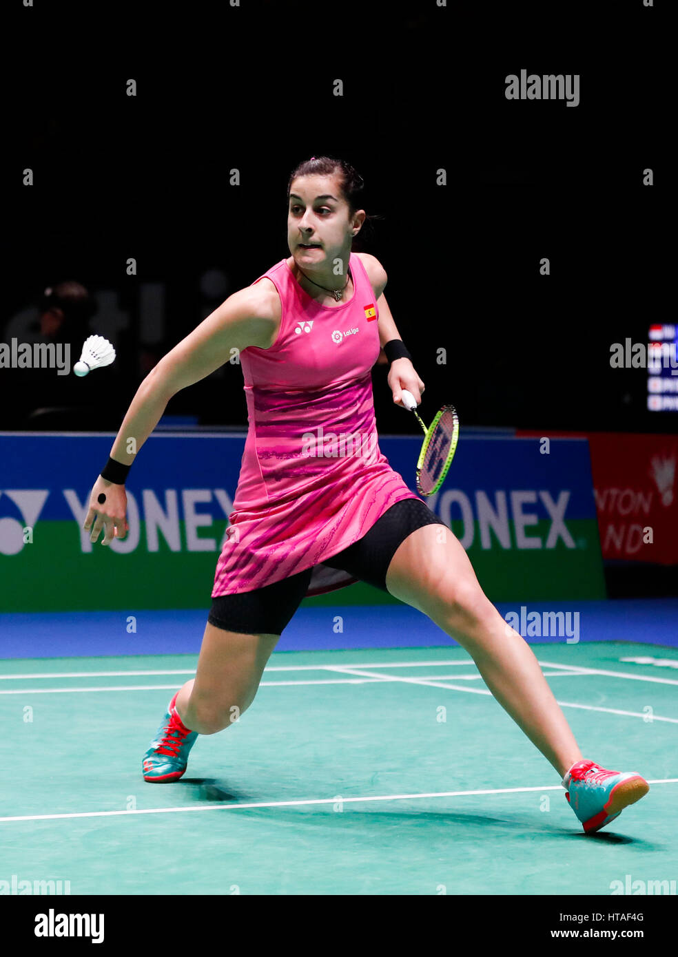 Birmingham 9th Mar 2017 Carolina Marin of Spain returns the