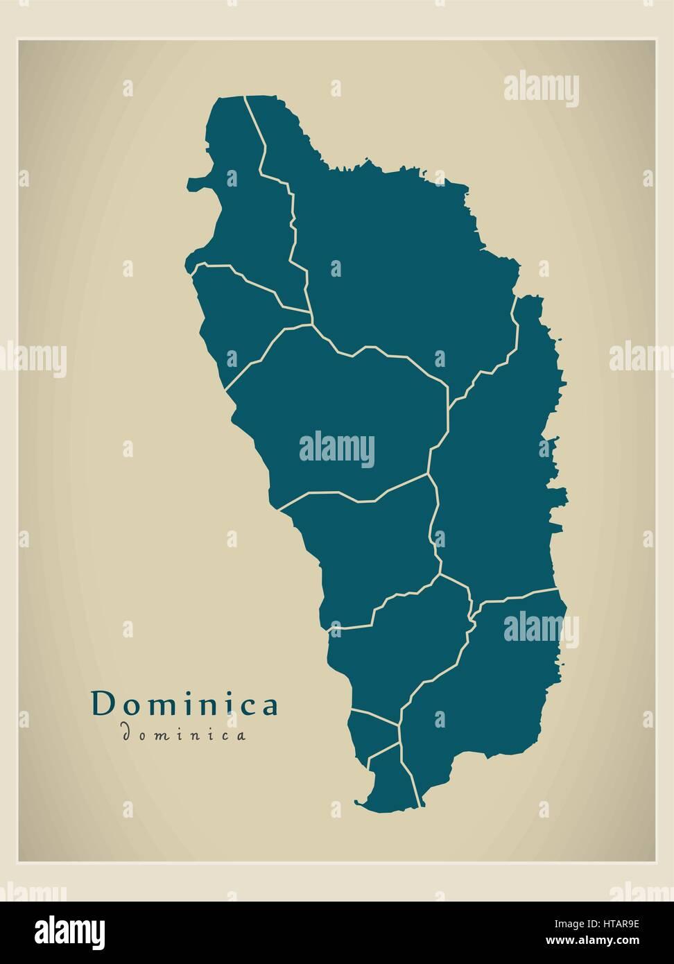 Modern Map Dominica parishes DM illustration silhouette Stock